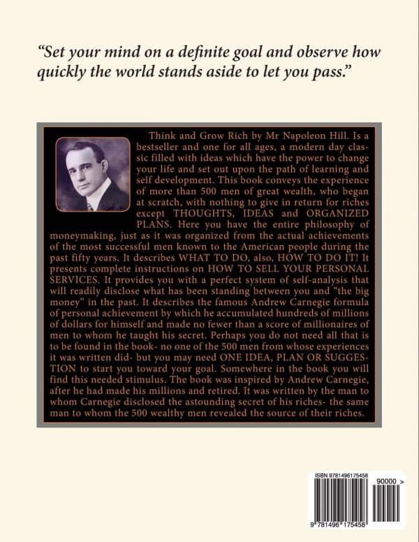 back cover of think and grow rich mp3 audiobook